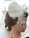 Femme Perle Strass Mousseline Tissu Filet Casque-Mariage Occasion speciale Coiffure Voile de cage a oiseaux 1 Piece