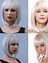 perruques synthetiques mode bob perruque Bang pur argent perruques blanches kanekalon resistant cheveux de la chaleur des femmes