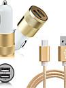 Billaddare för mobilen Annat 2 USB-portar med kabel för Mobil(5V , 2.1A)