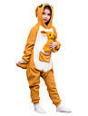 kigurumi Pyjamas Kangourou Collant/Combinaison Fete / Celebration Pyjamas Animale Halloween Orange Couleur Pleine Polaire Pour Enfant