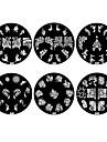 Fleurs 1PCS metalliques 2D Nail Art Stamp Plaque image (couleurs assorties, No.43-48)