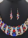 Ensemble de bijoux Multi-pierre Gemme Imitation de diamant Alliage Bijoux de declaration Mode Rouge Bleu Bleu/Vert Soiree Quotidien 1set1