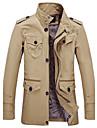 Bărbați Jachetă Ieșire Casul/Zilnic Plus Size Vintage Simplu(ă),Mată Manșon Lung Primăvară Toamnă Stand-Bej Negru Verde MediuBumbac