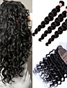 soie frontale de base avec des faisceaux cheveux peruvien armure 4pcs ondes laches 6a peruvien dentelle 13x4 frontale fermeture avec des