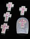 10st glitter korsar diy legering rosa rhinestone tillbehör nagel konst dekoration