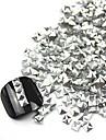 300st 3D Silver Square Alloy nagel konst gyllene & Silver Dekorationer
