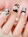 24 morceaux de produit pour les ongles faux ongles mariee clou fini fleur de dentelle noire faux ongles