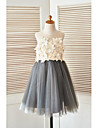 A-line Knee-length Flower Girl Dress - Satin / Tulle Sleeveless Scoop with Flower(s) / Pearl Detailing