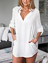 Women\'s Vinga Sexy Casual Work Stand Shirt , Long Sleeve,Polyester