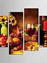 toile set Loisir Nourriture Moderne Realisme,Quatre Panneaux Toile Toute Forme Imprimer Art Decoration murale For Decoration d\'interieur
