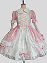 Une Piece/Robes Doux Princesse Cosplay Vetrements Lolita Couleur Pleine Manches longues Genou Robe Pour Coton
