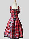 Une Piece/Robes Doux Princesse Cosplay Vetrements Lolita Rouge A Carreaux Sans manche Genou Robe Pour Coton