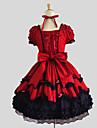 One-piece/Klänning Söt Lolita Prinsessa Cosplay Lolita-klänning Röd Svart Enfärgat Kort ärm Knälång Klänning För Dam Bomull