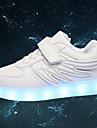 Flickor Sneakers Vår Sommar Höst Vinter Komfort Originell PU Utomhus Fritid Sport Platt klack Karborreband LED Svart Rosa Grå Promenad
