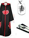 Inspirerad av Naruto Akatsuki Animé Cosplay-kostymer cosplay Suits Mer accessoarer Enfärgat Svart Lång ärm Kappa Mer accessoarer För