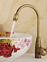 Antique Grand / Haut Arc Montage Rotatif with  Soupape ceramique Mitigeur un trou for  Laiton Antique , Robinet de Cuisine