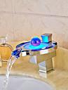 Contemporain Decoration artistique/Retro Moderne Set de centre LED Cascade with  Soupape ceramique Mitigeur un trou for  Chrome , Robinet
