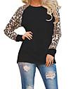 Damă Rotund Tricou Ieșire Casul/Zilnic Plus Size Simplu(ă) Șic Stradă,Leopard Manșon Lung Primăvară Toamnă-Mediu Poliester