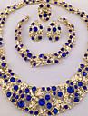 Seturi de bijuterii Coliere Brățară Cercei Inel Design Unic La modă Personalizat Africa Cristal Ștras Alb Albastru1 Colier 1 Pereche de