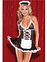 Costumes de Cosplay Tenus de Servante Infirmiere Fete / Celebration Deguisement d\'Halloween Noir avec Blanc Couleur PleineJupe