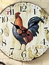 Tradițional Țara Retro Vacanță Muzică Familie Ceas de perete,Rotund Culoarea Lemnului 34*34 Interior/Exterior Interior Ceas