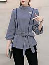 Dame Rotund Cămașă Ieșire Elegant Muncă Vintage Șic Stradă Sofisticat,Dungi ¾ Manșon Primăvară Vară-Albastru Negru Mediu Altele