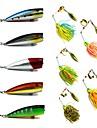 10 pcs Poissons nageur/Leurre dur Appat metallique Spinnerbaits Popper Kits de leurre Leurre Buzzbait & Spinnerbait leurres de peche