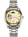 ASJ Bărbați ceas mecanic Japoneză Mecanism automat faza Lunii Oțel inoxidabil Bandă Vintage Cool Casual Luxos Argint