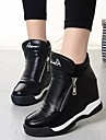 Femme-Decontracte-Blanc Noir-Talon Plat-Confort-Baskets-Polyurethane