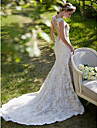 Mermaid / Trumpet Plunging Neckline Court Train Lace Wedding Dress with Appliques Button by LAN TING BRIDE®