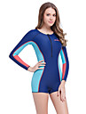 Sportif Femme 1mm Costumes humides Respirable Sechage rapide Design Anatomique Neoprene Tenue de plongee Manches longues Combinaisons-