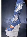Damă Sandale Vară Toamnă Confortabili Noutăți Pantofi Club Țesătură Nuntă Outdoor Rochie Casual Party & Seară Toc Pană Fermoar Albastru