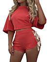Damă Rotund Tricou Pantaloni Costume Sporturi Casul/Zilnic Activ Simplu,Solid Mânecă scurtă toamnă vară-Arc Micro-elastic Polyester