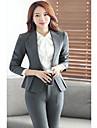 Costume / Tailleur Femme,Couleur Pleine Travail simple Printemps Ete Manche Longues Col en V Court Polyester Elasthanne