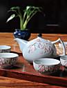a the en porcelaine a haute temperature peint a la main de fleur de prunier japonais serti de pot (600 ml) et cinq tasses (50 ml chacun)