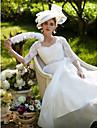 LAN TING BRIDE Linha A Vestido de casamento Transparencias Cauda Corte Rainha Anne Renda Organza comCom Apliques Micanga Botao Faixa /
