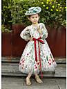 HUA XI REN JIAO A-line Tea-length Flower Girl Dress - Lace Tulle Jewel with Lace Sash / Ribbon