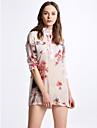 Dame Stand Bluză Ieșire / Plus Size Simplu(ă) / Șic Stradă,Floral ¾ ManșonAlbastru / Roșu Subțire Bumbac