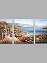 Peint a la main Personnage Horizontale,Moderne Trois Panneaux Toile Peinture a l\'huile Hang-peint For Decoration d\'interieur