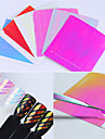6 feuilles holo 3d ongle adhesif autocollant ultra fin laser ligne candy nail foil decal