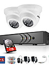 Ankke 4ch 2pcs tvi 720p monitor video ip rețea cctv ahd sistem de securitate dvr