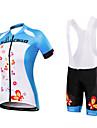Maillot et Cuissard a Bretelles de Cyclisme Femme Manches courtes VeloMaillot Collant a Bretelles/Corsaire Bretelles Ensemble de