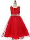 Bile rochie lungă rochie rochie fata rochie - tul de paiete fără mâneci gât scoop cu sequin