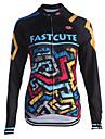 Fastcute Maillot de Cyclisme Homme Femme Enfant Unisexe Manches Longues Velo Shirt Maillot Hauts/Tops Sechage rapide Zip frontal