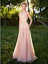 A-line bijuterie podea gât lungime tul rochie de seară formală cu aplicații detalii cristal