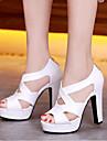 Femme Sandales Confort Gladiateur Polyurethane Printemps Ete Decontracte Confort Gladiateur Blanc Noir Beige Rose 12 cm & plus