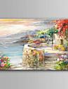 Pictat manual Peisaj Orizontal,Modern/Contemporan Un Panou Canava Hang-pictate pictură în ulei For Pagina de decorare