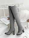 Femme Chaussures Polyurethane Automne Hiver Confort Bottes Plateforme Bout rond Avec Pour Decontracte Noir Gris