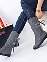 Femme Chaussures Polyurethane Automne Hiver Confort Bottes Avec Pour Decontracte Noir Gris Marron