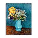 手描き ヴァン・ゴッホ ライラック、ヒナギクとアネモネの花瓶 c.1887 油絵 ヴァン・ゴッホ 中枠付き HB-915